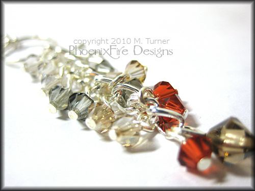 Autumn Inspiration Swarovski Crystal Y Necklace Sterling Silver Figaro Chain