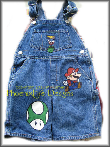 Handpainted Super Mario Brothers Denim Overalls for Little Girl