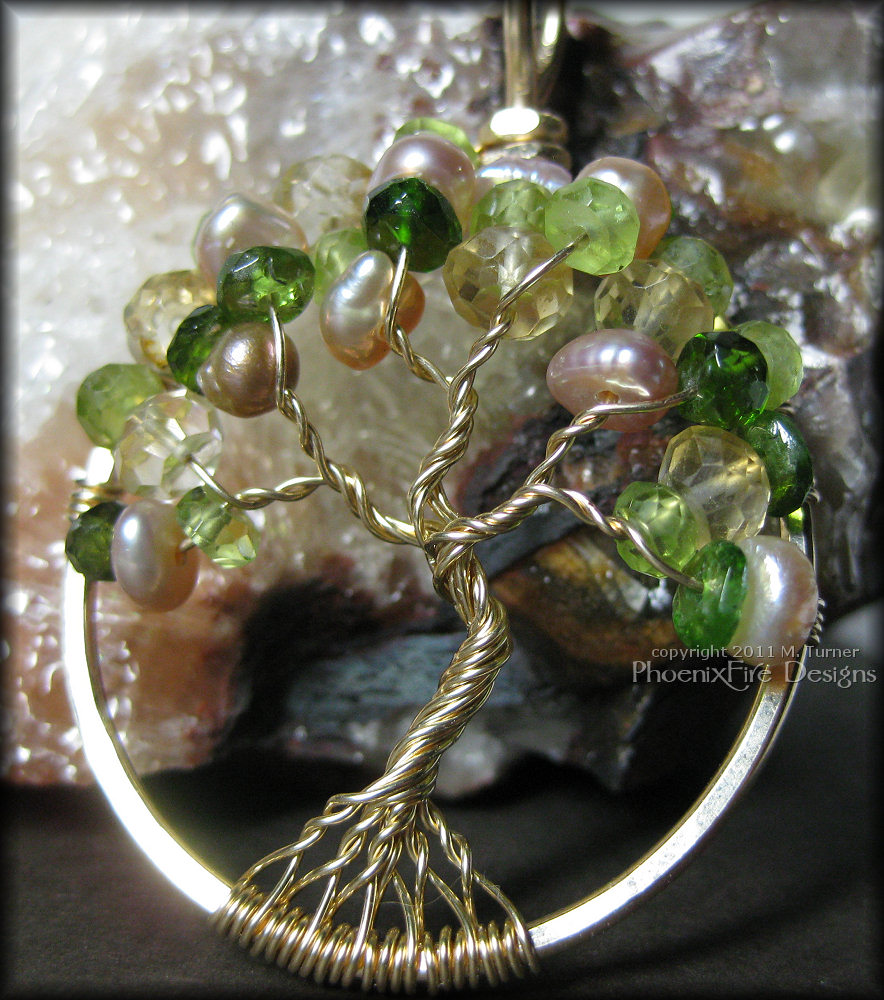custom birthstone family tree tree of life pendant may june august november mother's gift christmas in gold
