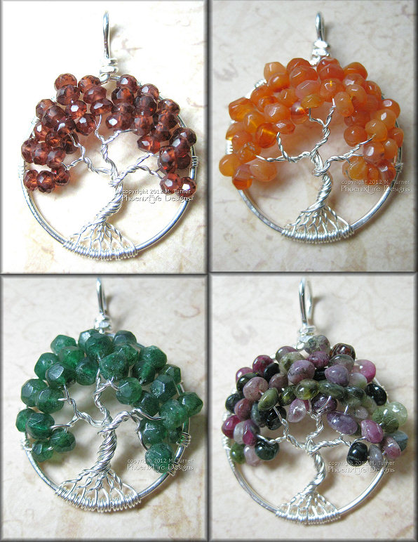 garnet tree of life, red (orange) carnelian tree of life, dark (emerald) green aventurine tree, mutli watermelon tourmaline tree of life pendant