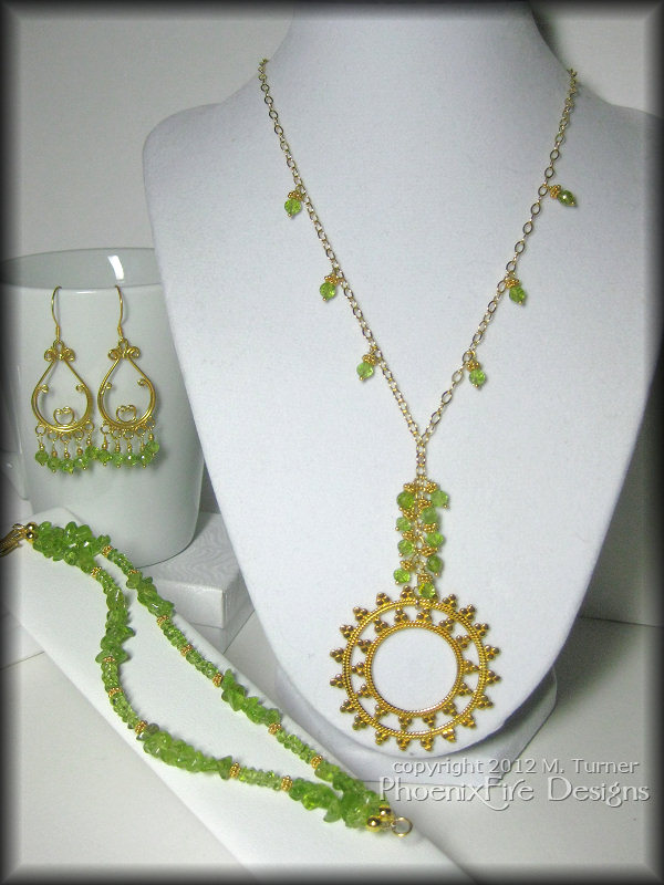 custom 14k gold and peridot bracelet earrings and necklace set handmade bali inspired