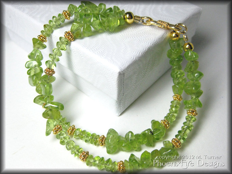 custom peridot and 14k gold vermeil bracelet