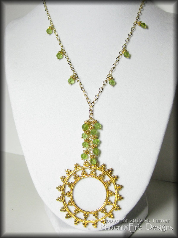 bali inspired 14k gold vermeil and peridot necklace