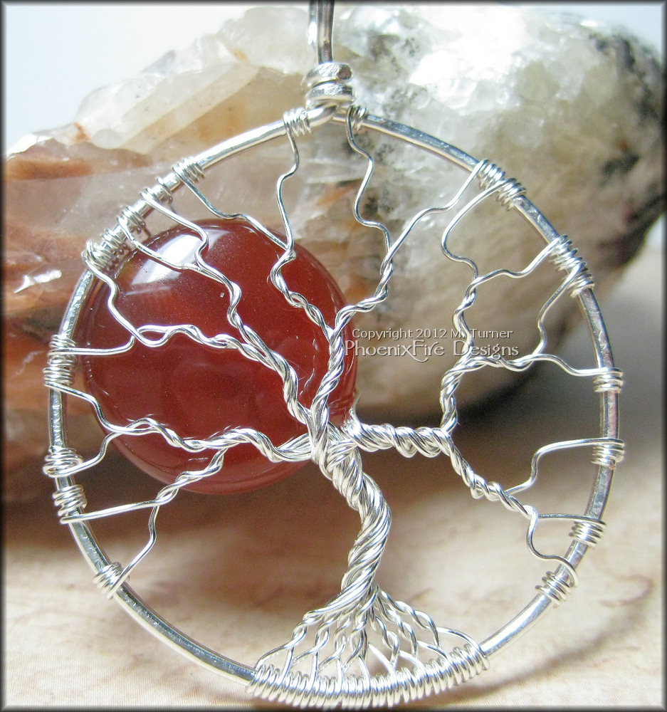Blood Moon – Tree of Life Pendant in Sterling Silver Wire with Red