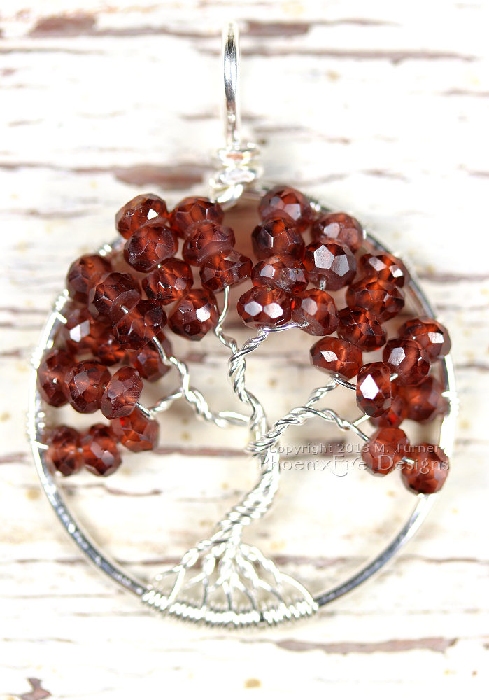 Garnet is a natural, semi-precious gemstone associated with the planet Mars, the zodiac sign of Aquarius and the birthstone of the month of January. Considered the stone of good luck in business, it's also said to increase your self-esteem when worn as jewelry. It's also the stone associated with the first chakra (base of the spine.) It's rich, deep and intense color is unique and beautiful.