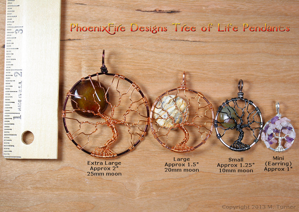 Extra large, large, medium and miniature size scale of tree of life pendants by PhoenixFire Designs.