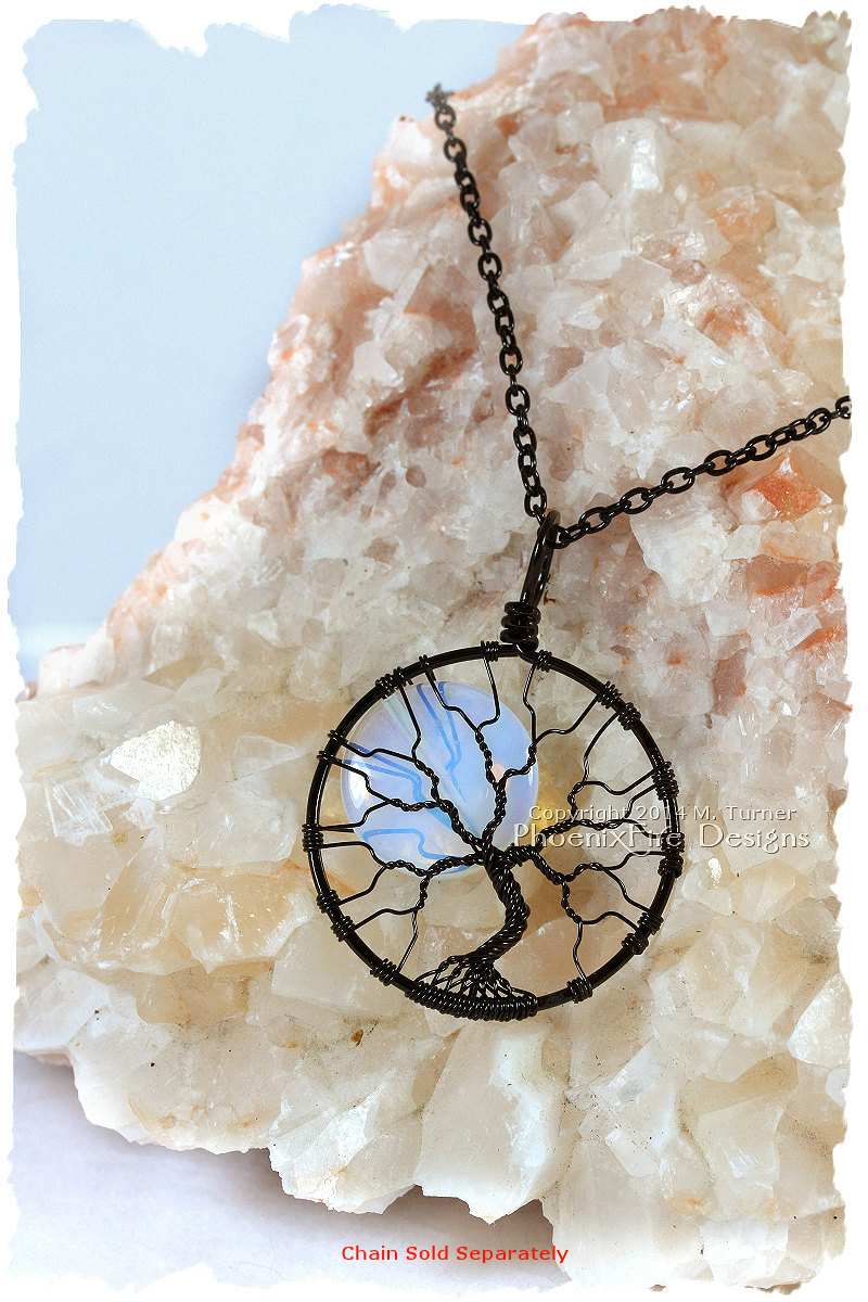 Black wire wrapped opalite rainbow moonstone full moon tree of life pendant has a spooky Halloween look but can be worn all year long! By PhoenixFire Designs