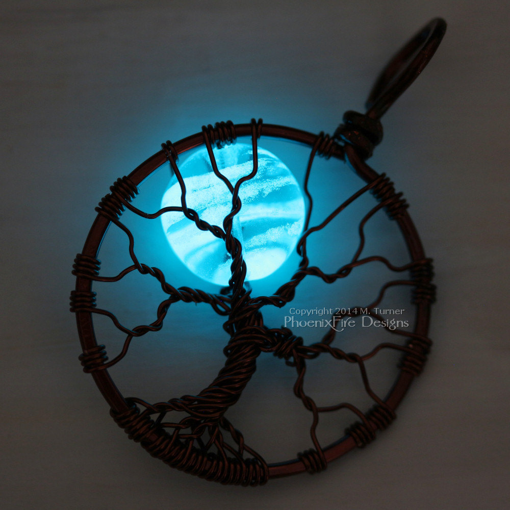 Wire wrapped glow in the dark blue moon tree of life pendant, glowing blue moon, glow in the dark jewelry, glowing necklace by PhoenixFire Designs.