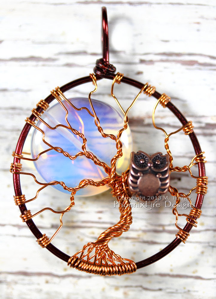 Two tone, mixed metal wire wrapped brown and copper tree of life pendant with large opalite rainbow moonstone full moon and copper owl within the branches makes a spooky Halloween tree of life necklace! By PhoenixFire Designs.
