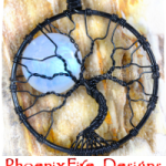 Black Wire Wrapped Natural Rainbow Moonstone Full Moon Tree of Life Pendant by PhoenixFire Designs