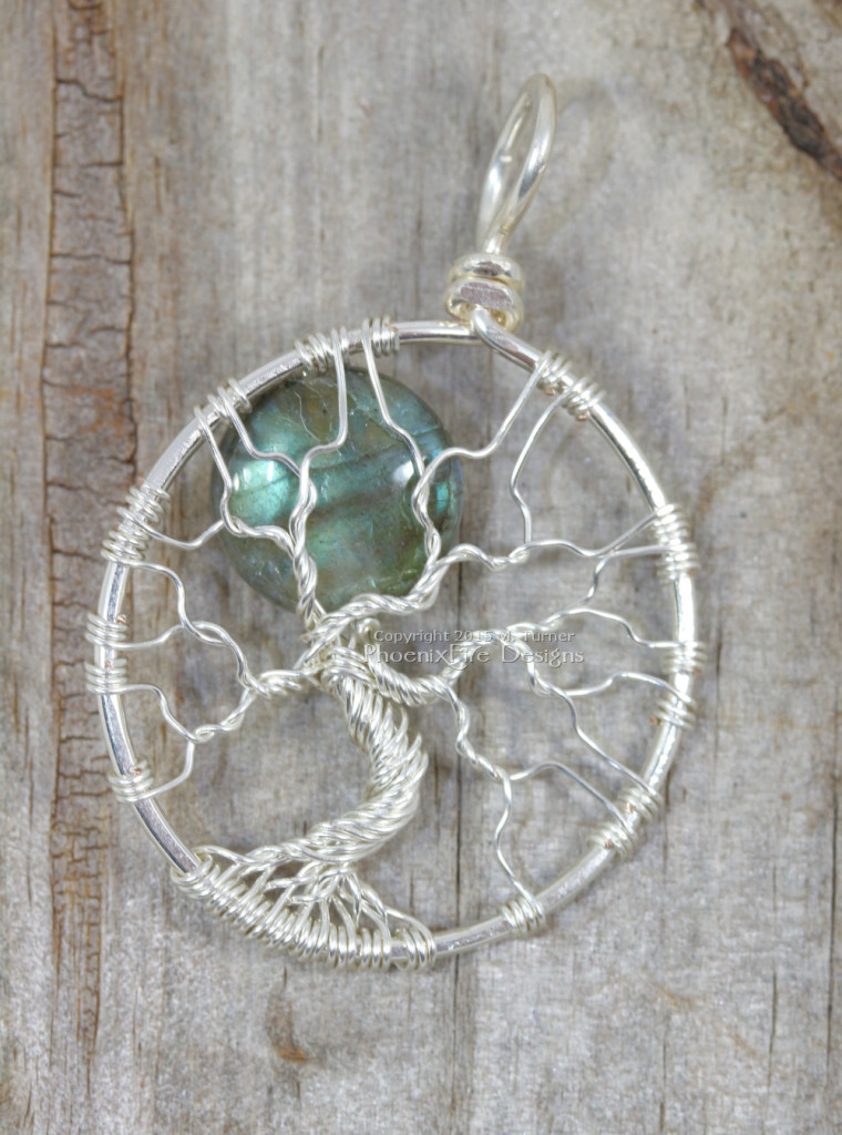 Handcrafted, wire wrapped blue flash labradorite blue moon full moon tree of life pendant by PhoenixFire Designs.