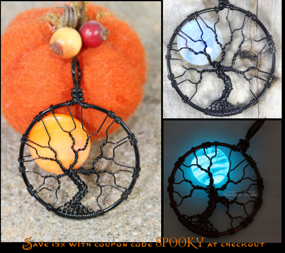 Spooky trees, Halloween harvest moon, glow in the dark jewelry - all of it is on sale for a limited time. Handcrafted, wire wrapped tree of life pendants by PhoenixFire Designs.