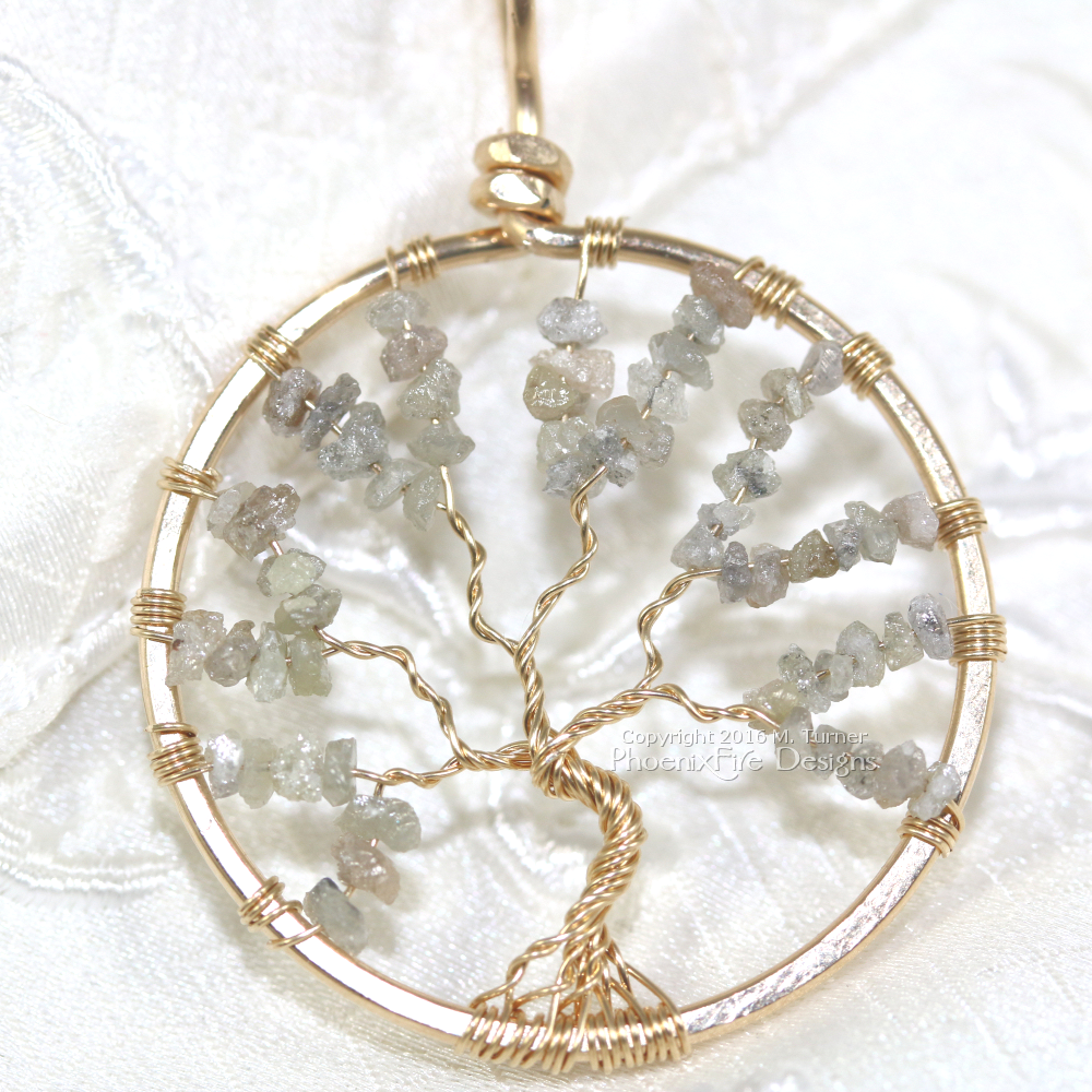 Stunning 14k gf diamond tree of life pendant, gold diamond jewelry, diamond necklace, gift idea for her, anniversary gift idea, something special, birthstone jewelry, april birthday, natural rough diamond pendant,  handmade unique ooak jewelry etsy by PhoenixFire Designs