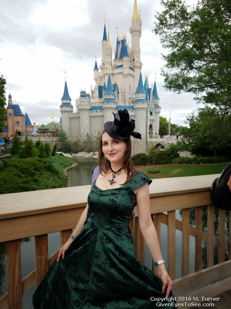 Dapper Day 2016 WDW Magic Kingdom showing off my Haunted Mansion Disneybound and the original bat stanchion black lace choker necklace by Miss M. Turner of PhoenixFire Designs on etsy. May Turner handmade bat stanchion necklace.