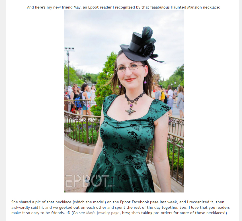 Epbot included me and my haunted mansion bat necklace to feature in their Dapper Day photo round up!