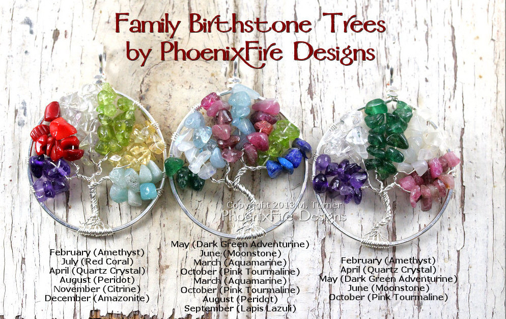 Family Tree of Life Pendant, custom birthstone jewelry, handmade family necklace, mother's day gift idea for her, mother's jewelry, grandmother's jewelry, mother daughter jewelry, ancestry necklace, genealogy jewelry, gemstone wire wrap tree etsy shop by PhoenixFire Designs