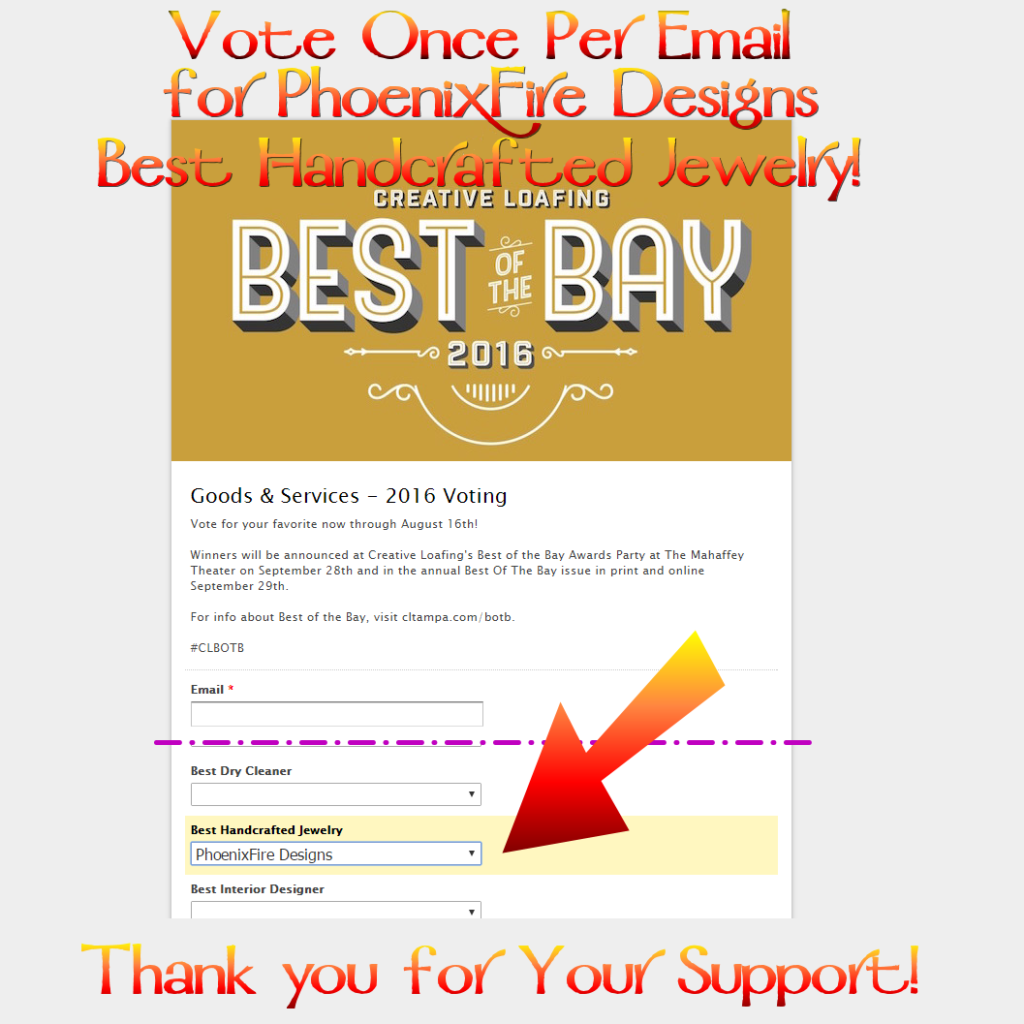 Vote PhoenixFire Designs for Best Handcrafted Jewelry in Creative Loafing's Best of the Bay contest! Support our 100% local, 100% handmade from scratch tree of life pendants. Celebrating 10 years on etsy!