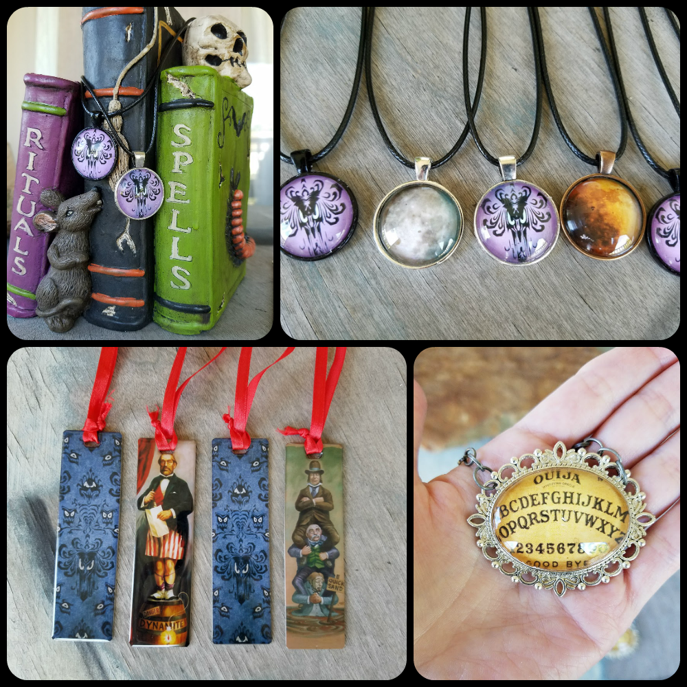 halloween jewelry, limited edition halloween accessories, phoenixfire designs, phoenix fire designs, phoenixfiredesigns, disney s haunted mansion, haunted mansion wallpaper jewelry, haunted mansion pendant, haunted mansion necklace, madame leota jewelry, ouija board necklace, ouija board pendant, haunted mansion stretch portraits, disneyworld, walt disney world, disneyland, custom bookmarks, metal bookmarks, custom metal bookmark, hauntizaar, halloween accessories, halloween costume ideas, halloween jewelry ideas, spooky jewelry, goth jewelry, gothic jewelry, goth necklace, gothic necklace, goth pendant, halloween full moon, blood moon jewelry, ooak jewelry, unique gift ideas, artisan jewelry