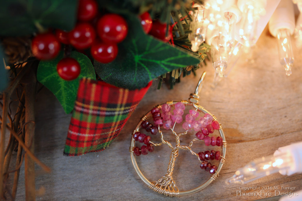 14k gf Yellow Gold Ombre of Shaded Ruby Tree of Life ranging from pink sapphire through deep ruby red. Handmade by PhoenixFire Designs.
