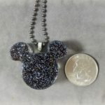 mickey ears glitter necklace, handmade black glitter pendant, handmade resin disney pendant