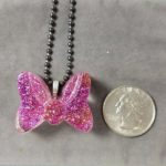 pink glitter minnie bow necklace pendant handmade resin pendant