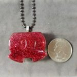 Red glitter mickey shorts necklace, handmade resin pendant