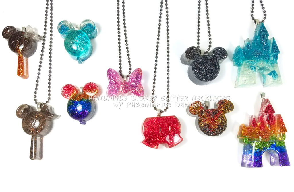 Mickey ear balloons, mickey premium bar, mickey shorts, minnie bow, cinderella castle, handmade resin rainbow glitter pendants by PhoenixFire Designs