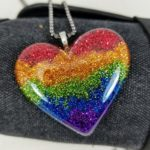 Pride necklace, rainbow glitter heart necklaces, lgbt symbol, st. pete pride, love is love