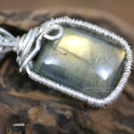 Silver wire wrapped labradorite necklace artisan jewelry handcrafted by PhoenixFire Designs