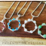 Dainty Circle Necklaces, Natural gemstone jewelry, wire wrapped karma necklace, handmade garnet, blue topaz, rainbow moonstone, green opal jewelry by PhoenixFire Designs
