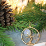 Rose Gold Rainbow Moonstone Necklace Full Moon Tree of Life Pendant Wire Wrapped Jewelry by PhoenixFire Designs