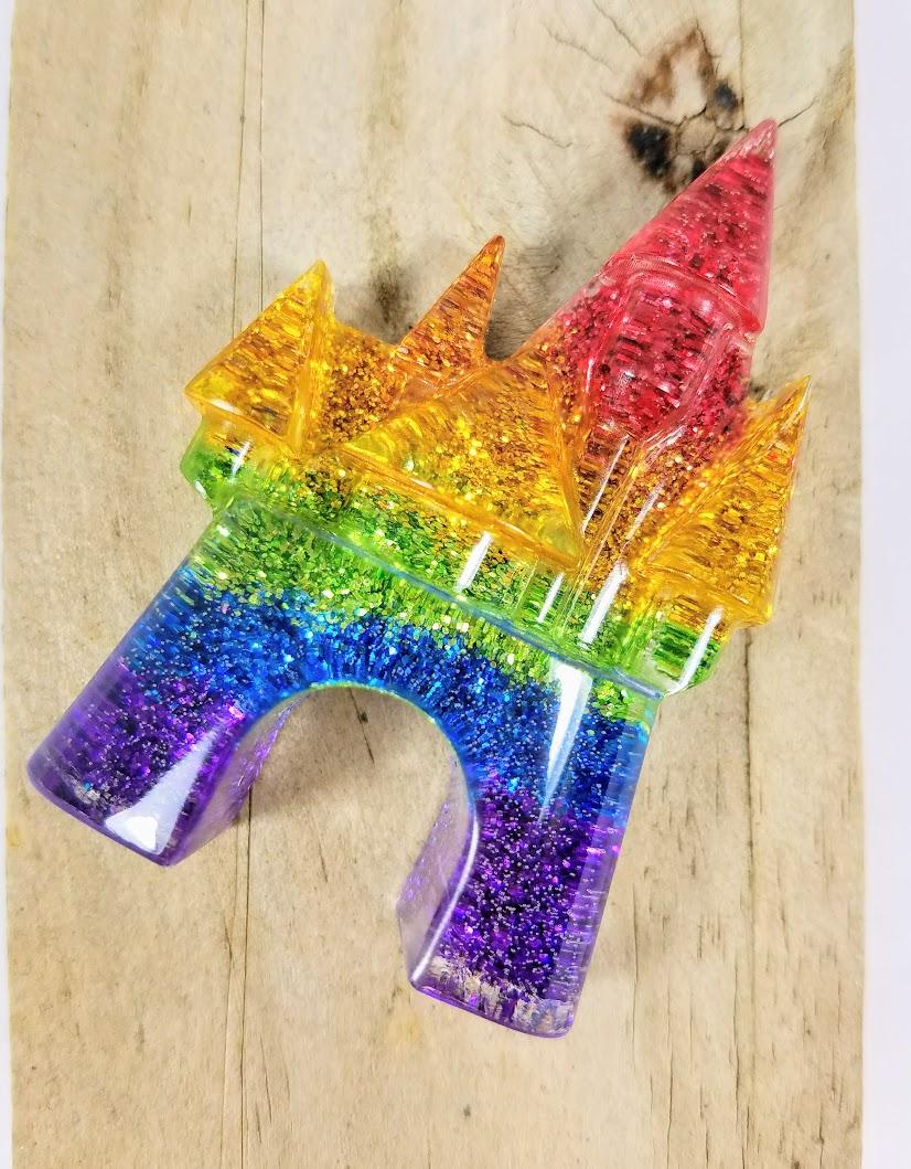 handmade Rainbow Glitter Cinderella Castle disney jewelry pendant disney necklace rainbow castle, disneybound, disney bounding