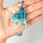 handmade disney Glitter Cinderella Castle disney jewelry pendant disney necklace rainbow castle, disneybound, disneybounding