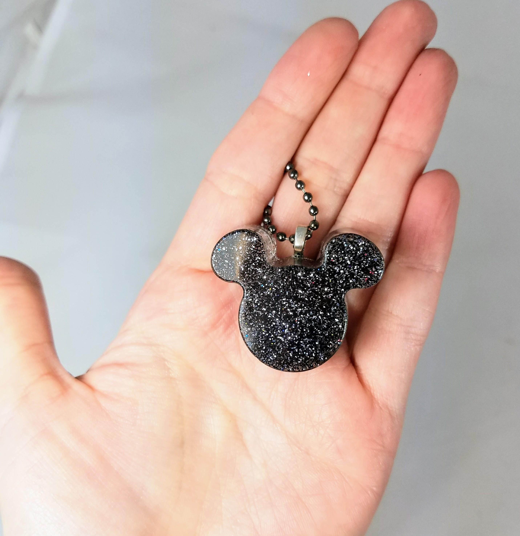 mickey ears glitter necklace, handmade black glitter pendant, handmade resin disney pendant