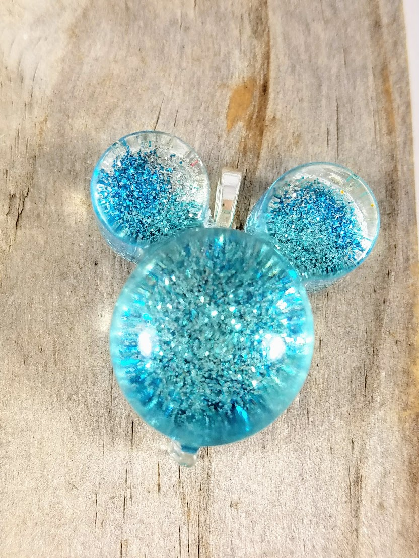 handmade glitter resin pendant mickey mouse ear balloon pendant necklace